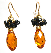 NL WL Amber Crystal Jet Earrings