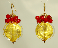 NL WL Gold Coin Carneliasn Earrings