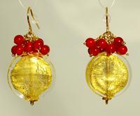 NL WL Gold Coin Carneliasn Earrings
